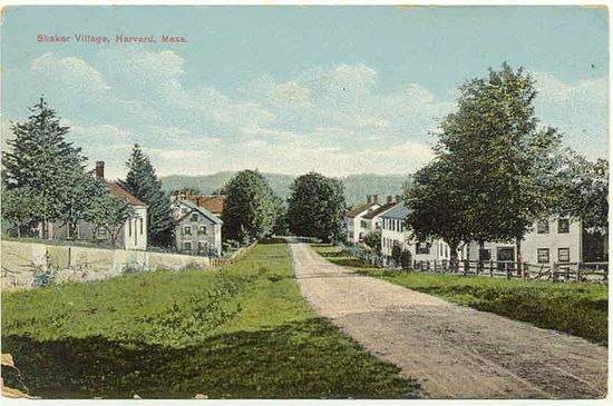 Harvard's Shaker Village in about 1905.