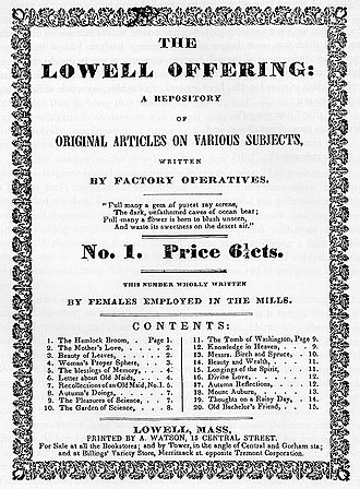 """Literary journal by """"Lowell Factory Girls''."""