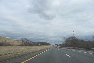 Interstate 90 approaching Chicopee, Mass., exit.