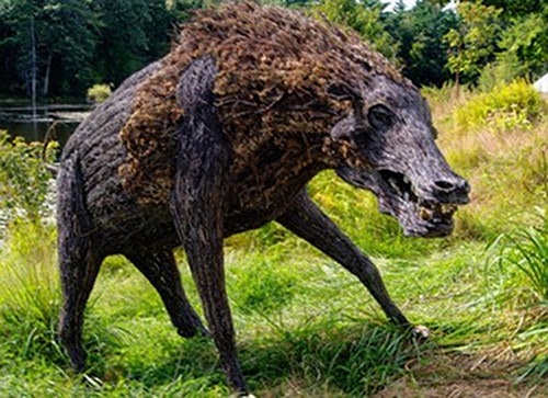 """Entelodont,'' by Robert Shannahan, in the ""Art on the Trails 2018'' show at the Beals Preserve, Southboro, Mass.  The show includes 18 outdoor art installations in the Beals Preserve.   The theme of the exhibition is ""Unexpected Gestures''.  The juried works  were created and selected with the setting of the preserve in mind, contrasting and blending with its woods, meadows, trails and ponds. See artonthetrails.com for more information."