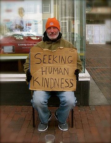 Homeless man in Boston.