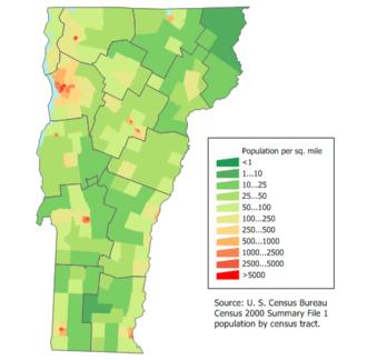 Population density in Vermont.