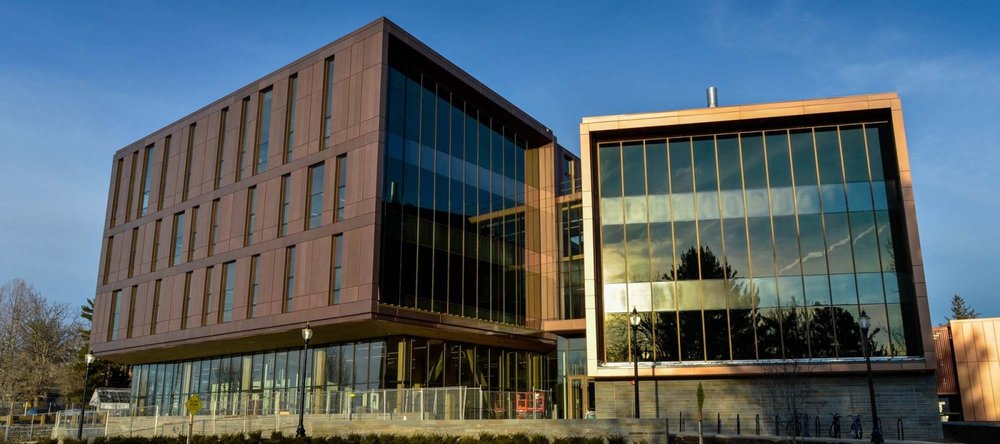 The John W. Olver Design Building, mostly made of wood,at UMass Amherst.