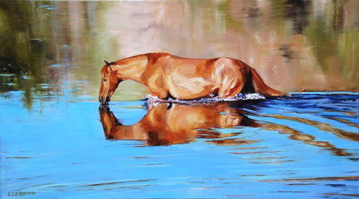"""""""Quenched'' (oil on canvas), by Gay Freeborn, at the Patricia Ladd Carega Gallery, Center Sandwich,   N.H."""