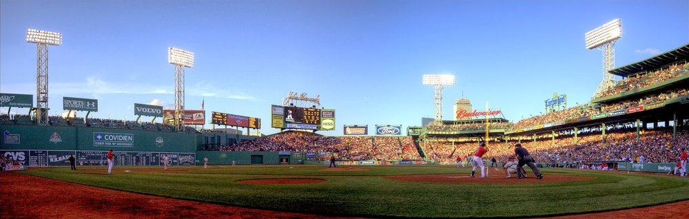 Fenway Park in the early evening.