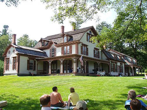 The William Cullen Bryant Homestead, in the western Massachusetts hill town of Cummington, is the boyhood home and later summer residence of  William Cullen Bryant  (1794–1878), the (once-famous) poet and New York newspaper editor. The 155-acre  estate is  at 205 Bryant Rd. and open to the public on weekends in summer and early fall. An admission fee is charged. Many of Bryant's poems were inspired by the New England countryside.