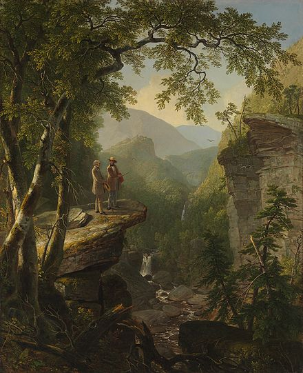 """Kindred Spirits'' by Asher Durand,  depicts William Cullen Bryant with  t he painter Thomas Cole, in this quintessentially  Hudson River School  work."