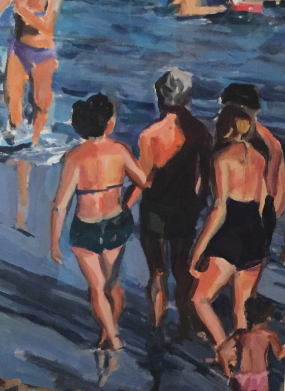 """""""Beach Stroll''(acrylic on paper), by Madeleine Lord, at the Patricia Ladd Carega Gallery, Center Sandwich, N.H."""