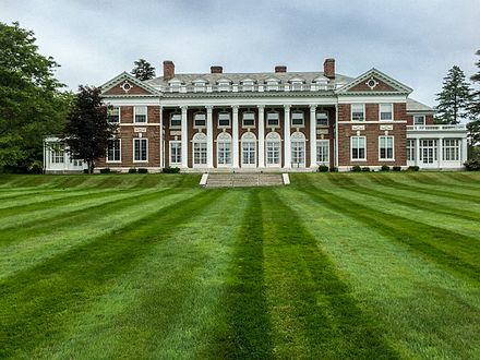 Most of the current Stonehill campus was purchased from Mrs. Frederick Lothrop Ames Jr. on Oct. 17, 1935. The initial purchase included 350 acres and the original Ames mansion, seen here; the Catholic college's remaining 190 acres were bought from Mrs. Ames two years later.Frederick Lothrop Ames Jr.was the great-grandson of  Oliver  Ames Sr., who came to Easton in 1803 and established the  Ames Shovel Company .