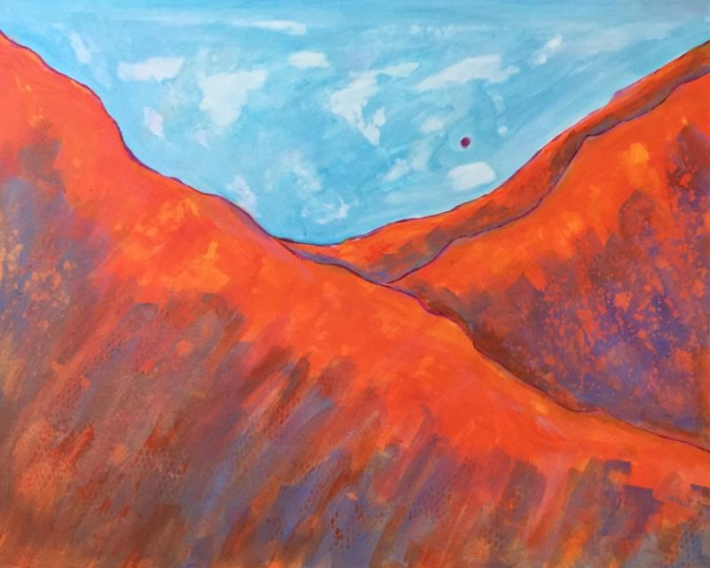 """Orange Ridge'' (acrylic watermedia on aquaboard), by Randa Dubnick, in the show ""Exploring in the Mountains of Color,'' at Galatea Fine Art, Boston, through July 29."