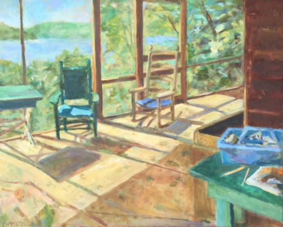 """Squam Series: Side Porch"" (oil on canvas), by Frances Hamilton, at the Patricia Ladd Carega Gallery, Center Sandwich, N.H."