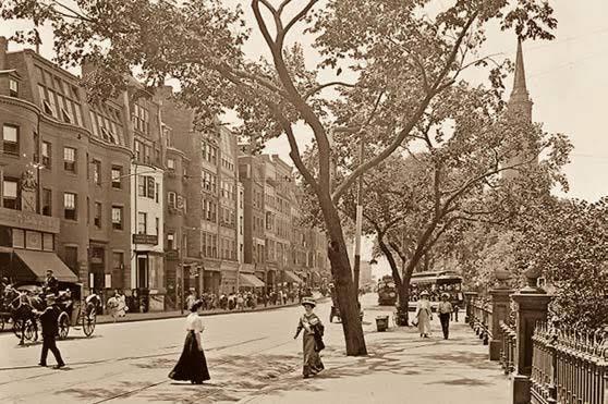 Summer scene along the Boston Public Garden, to the right, circa 1900.