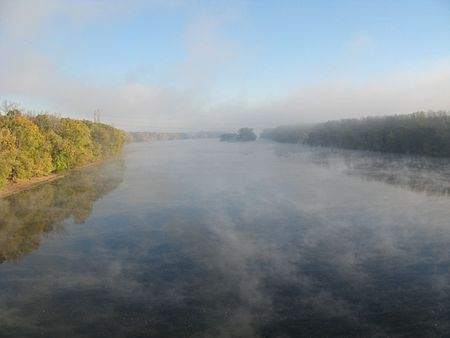 Mist upstream of the Bissell Bridge over the Connecticut between Windsor and South Windsor, Conn .