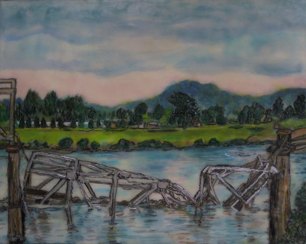 """The Beauty of Broken Bridges'' (encaustic painting), by Nancy Whitcomb"