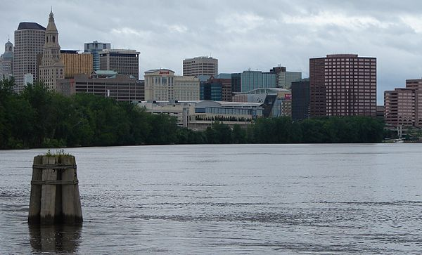 Looking across the Connecticut River at Hartford.
