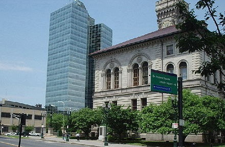 Downtown Worcester, with City Hall on the right .
