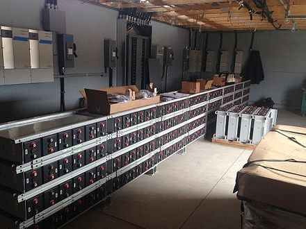 Sealed absorbed glass mat batteries for photovoltaic power collection at Shoals Marine Lab.