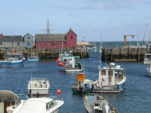"Rockport Harbor.  The red building is ""Motif #1'' ."
