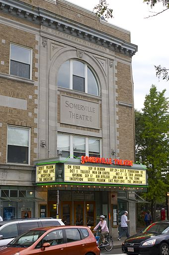 The  Somerville Theatre  is an independent movie theater and concert venue in the  Davis  Square neighborhood. It was started off as a vaudeville house and movie theater. The theater now operates as a live-music venue and first-run movie theater.