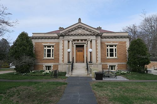 Brainerd Memorial Library, in Haddam, Conn.Haddam is in south-central Connecticut, in the lower Connecticut River Valley and home of Cockaponset State Forest. Incorporated in October 1668 as Hadham, It was later renamed Haddam because of people saying Hadham too fast.     Haddam is the only town in Connecticut divided by the Connecticut River, by far New England's biggest river.It contains five villages – Hidden Lake, Higganum, Shailerville and Tylerville on the west side of the river, and Haddam Neck on the east. For its first 200 years, the river was a major source of the town's livelihood and, of course, transportation. Today, Haddam is almost entirely a residential community.