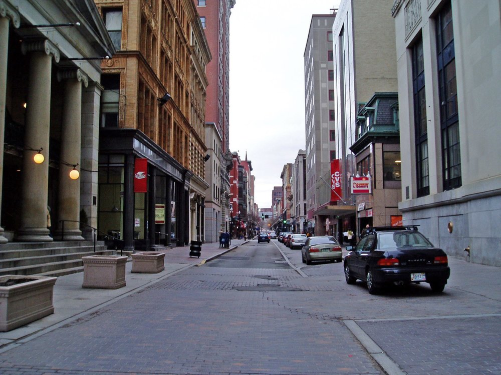 CC BY-SA 3.0 -    Downtown Providence, with the Arcade (1828) at the left.