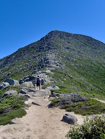 On the Appalachian Trail near the summit of Mt. Katahdin, the highest mountain in Maine, and the northern terminus of the trail.