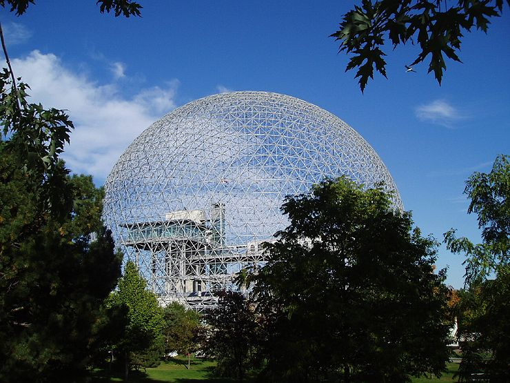 Architect, inventor and futurist Buckminster Fuller's geodesic dome for the 1967 Montreal World's Fair. Born in Milton, Mass., he spent much of his life in Massachusetts and Maine.