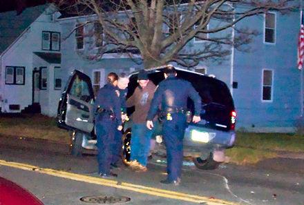 Driver undergoing sobriety test.