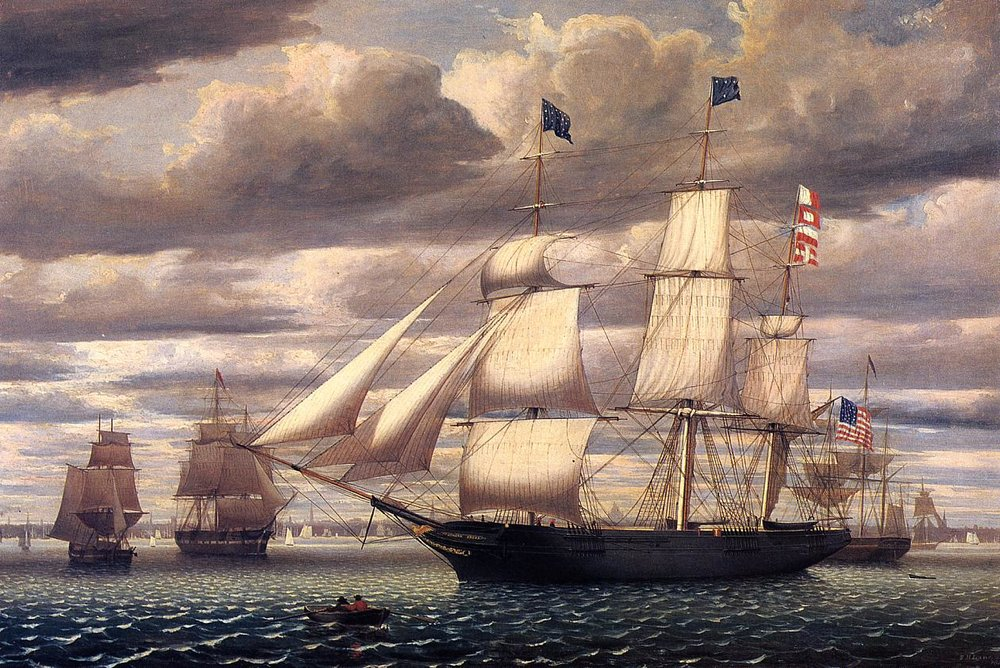The clipper ship Southern Cross in Boston Harbor in 1851. Painting by FitzHugh Lane.