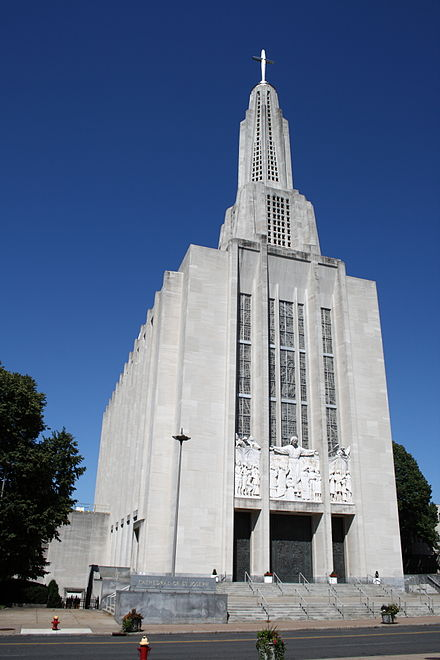 The rather strange Art Deco-looking Cathedral of St. Joseph in Hartford.