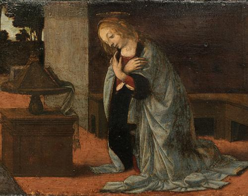"""""""The Annunciation'' (oil on panel, detail), circa 1475-79, by Leonardo da Vinci, in the show   """"Discoveries at Verrocchio's Studio,'' to run through Oct. 7 at the Yale University Art Gallery, New Haven. The painting is on loan from the Louvre.  The exhibition looks at the work known to have been created in the teaching studio of the sculptor, painter, and goldsmith  Andrea del Verrocchio during  da Vinci's early apprentice years."""