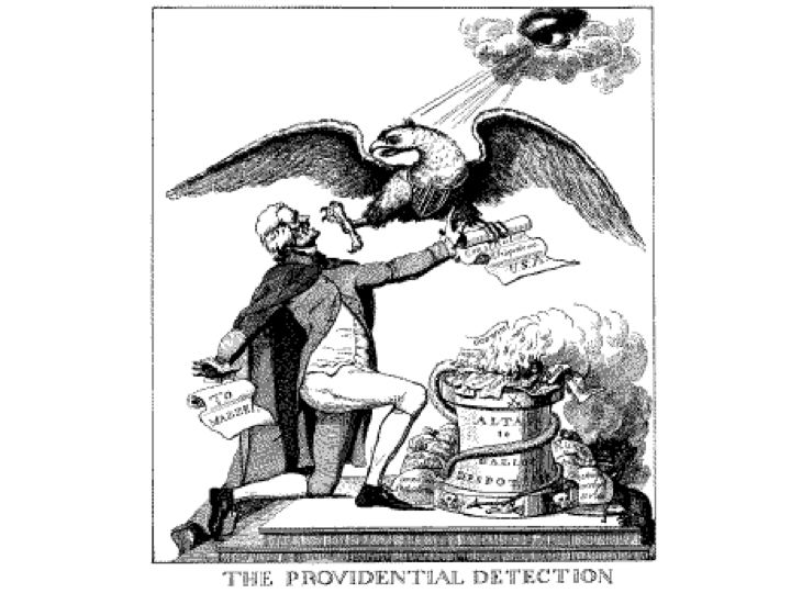 Anti-Jefferson cartoon in the 1800 election campaign depicts him burning the Constitution.