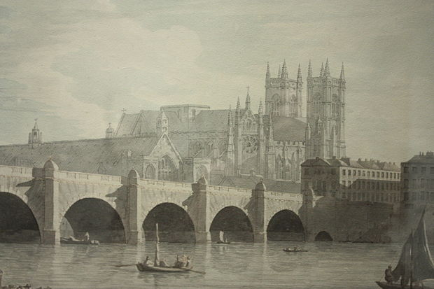 """Westminster Bridge,'' by Joseph Farrington, 1789 (the original bridge, opened in 1750), replaced in 1862."