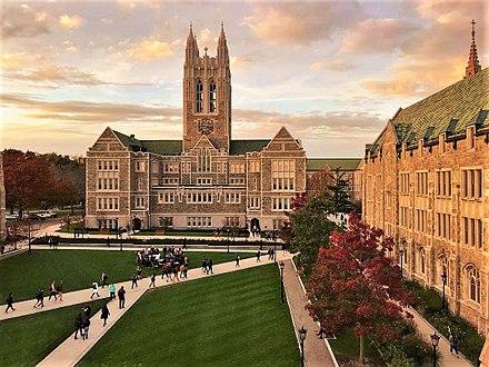Gasson Quadrangle at Boston College, in Chestnut Hill, Mass.