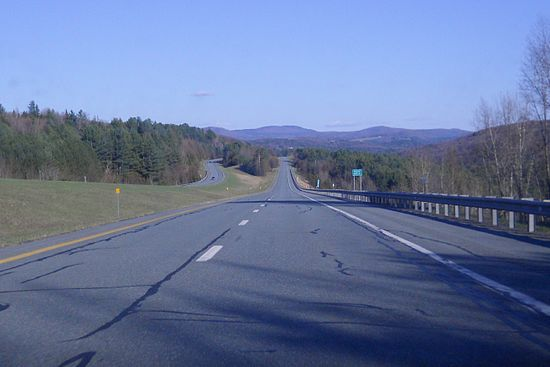 Route 91 south, in Wheelock, Vt. Route 91 north of the Massachusetts line has usually been a remarkably open road, and it goes through lovely rolling countryside along the Connecticut River.