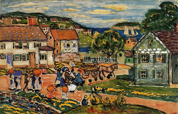 Marblehead   (1914 watercolor) , by Maurice Prendergast.