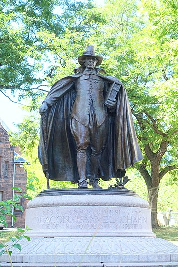 """""""   The Puritan   ''  (1887),  a famous   statue in    Springfield,    Mass., by    Augustus Saint-Gaudens   . Springfield is now best known for its new casino."""