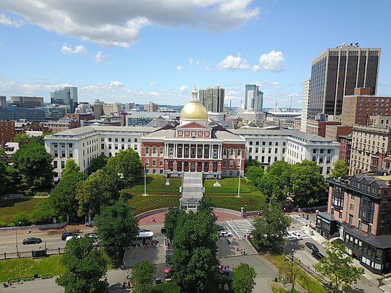 The Massachusetts State House, with its famous gold dome.