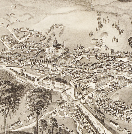 Montpelier in 1884. Note the domed state capitol.