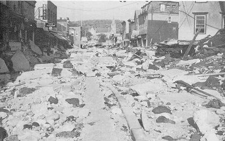 Flood damage in Winsted, Conn., in August 1955 after former Hurricane Diane came through.