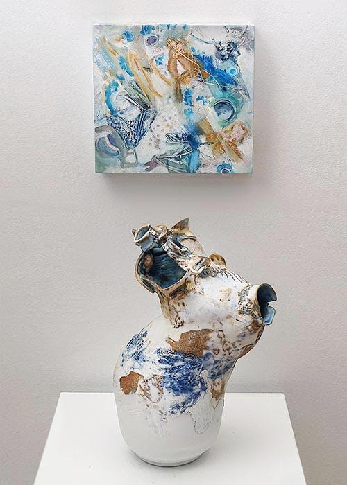 """""""he Gentle Barbarian'(oil on board (top) and porcelain), by Elizabeth Strasser, at the Bromfield Gallery, Boston."""