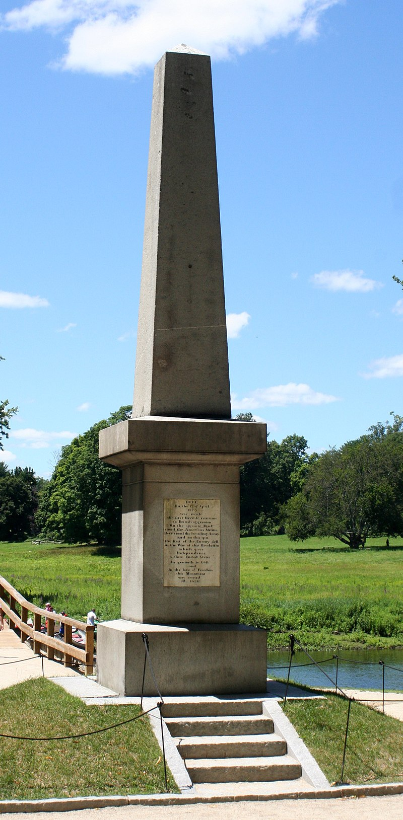 The Concord Battle Monument, next to the Concord River.    — Photo by Dave Pape