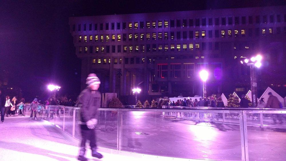 Skating rink at Boston's City Hall Plaza Winter Market in 2016