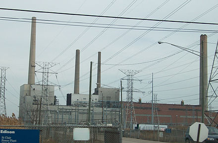 The St. Clair Power Plant, in Michigan. It burns coal and oil.