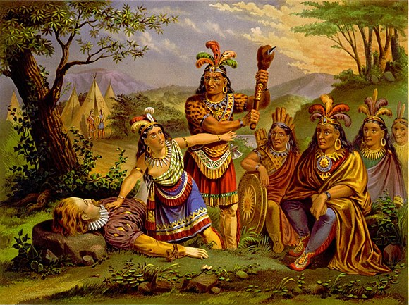 In this    chromolithograph    credited to the New England Chromo. Lith. Company, around 1870, Pocahontas saves the life of John Smith in what is now Tidewater, Va., in 1607. The scene relies on stereotypes of Native Americans rather than on reliable information about the particulars of this historical moment. There are no mountains in Tidewater Virginia, for example, and Native Americans in the region lived not in teepees but in thatched houses .