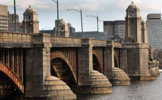 "The Longfellow Bridge over the Charles River, nicknamed ""The Pepperpot (or Pepper Pot) Bridge."