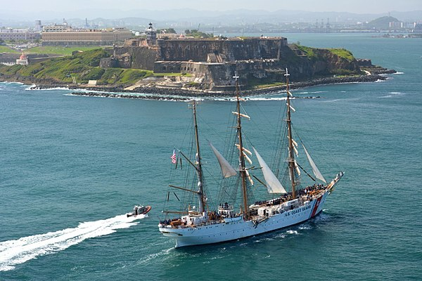 Sailing into San Juan, Puerto Rico.