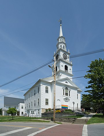 Rater typical New England Congregation Church, in the college town of Middlebury. Vt.