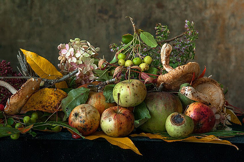 """Photo by Lynn Karlin in the show of 19 still lifes by the Maine photographer, from her """"The Pedestal Series,"""" a display of food in still-life composition in the """"Art in the Capitol'' program of the Maine Arts Commission Nov. 30-Dec. 31. Also in the program, and in partnership with VA Maine Healthcare Systems of Togus, is the Maine Veteran Artists show: works by 39 artists who have accompanied their work with artist statements that includes quotes and stories about how art plays a key role in the quality of life for many Maine veterans.''    Maine has a long history of luring and keeping distinguished artists, to no small degree because of its physical beauty, especially along its coast."""