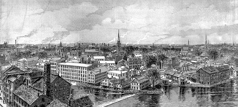 Very prosperous but very polluted Pawtucket in 1886, viewed from the steeple of the    Pawtucket Congregational Church   . Just don't think about the child labor.